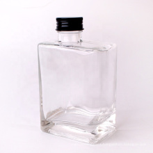 300ml clear square glass bottle with metal screw top lid for juice beverage cold press wine