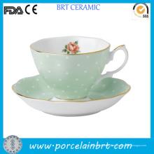 Goldrand Rose Vintage Keramik Tasse mit Untertasse