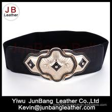 Fashion Ladies Wide Elastic Waist PU Leather Woman