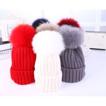 Wholesale Fur POM POM Wool Knitted Winter Beanie Cap Hat