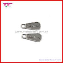 Custom Gravierte Logo Metall Zipper Abzieher für Tasche