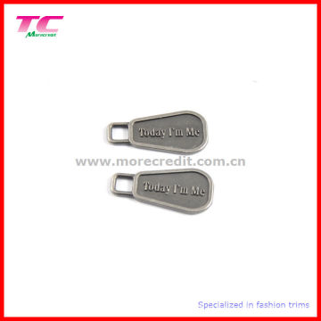 Extrator gravado feito sob encomenda do Zipper do metal do logotipo para o saco