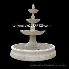 Hand geschnitzte weiße Stein Skulptur Wasserbrunnen (SY-F006)