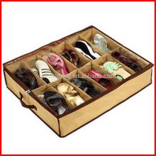 Bolso da caixa de sapata 12 sob o suporte dobrável do organizador do armazenamento do recipiente da sapata da cama
