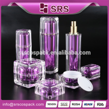 face spray bottle, plastic containers for liquids, cosmetic clear purple square shape lotion pump 120 ml bottle