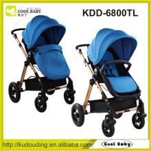 China Baby Kinderwagen Hersteller Reversible Seat Swivel Wheels mit Aufhängung Abnehmbare Armlehne Large Storage Basket