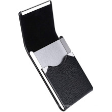 Estojo de couro para cartão de visita com fecho magnético