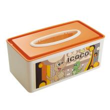 Dibujos animados de diseño impreso rectángulo de plástico caja de tejido (zjh023)