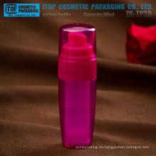ZB-TP30 30ml doble capas de botellas de forma cónica de color personalizable snap-on plástico bomba bomba airless de SAN/AS