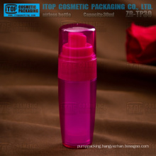 ZB-TP30 30ml double layers taper color customizable snap-on plastic pump SAN/AS airless pump bottles