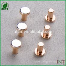 rebites de cobre T2 sólido de cabeça plana