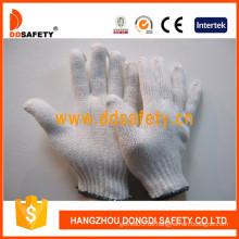 Bleich Baumwolle / Polyester Arbeitshandschuhe, 7 Gauge mit 2 Fäden -Dck702