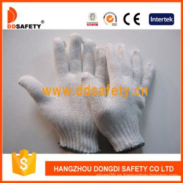 Guantes de trabajo de algodón / poliéster blanqueador, calibre 7 con 2 hilos -Dck702