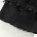 Chaqueta de piel y piel de esquila negra para dama Chaqueta de piel de zorro estilo largo