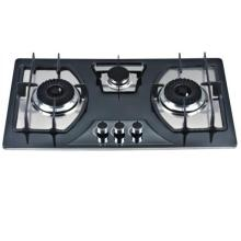 Estufa de gas de 3 quemadores de alta calidad / cocina de gas de vidrio templado