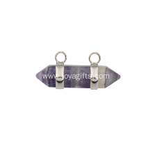 Natural Amethyst Hexagonal Pendant Plated Silver for Women Jewelry Necklace