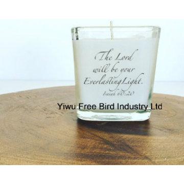 Gran vaso de vela de fuego largo en vidrio claro