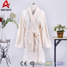Manufacturers supply short style beige solid coral fleece women plush bathrobe