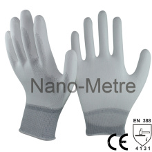 NMSAFETY 13 gauge white PU palm assembly hand work pu gloves