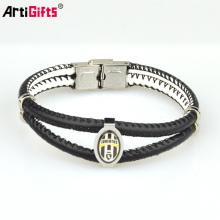 Bracelete de aço inoxidável da amizade do couro da pulseira da prata do germânio dos homens feitos sob encomenda