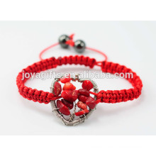 New arrival Tree of Life Natural Red Coral Chip Woven Heart Shape Bracelet With Red Cord
