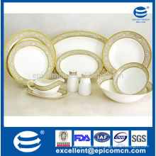 hotel service set new bone china dinnerware with elegant gold rim decal design