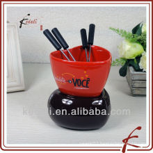 ceramic cheese fondue set with forks