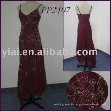 PP2407 Ankle Length Spaghetti Straps Full Beaded Chiffon Prom Dress