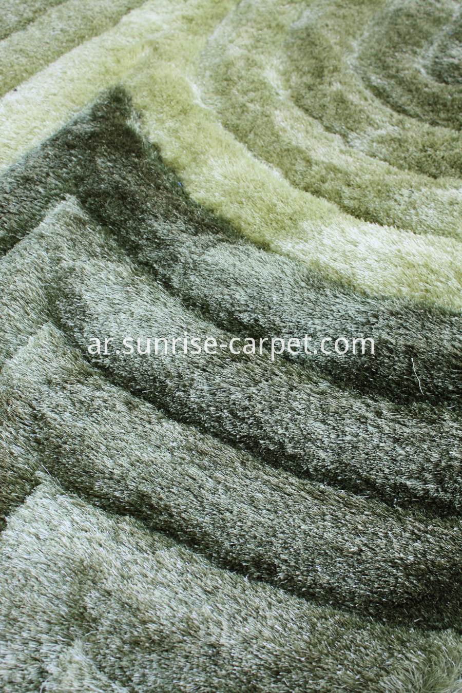 Polyester Silk Shaggy 3D Green Rug