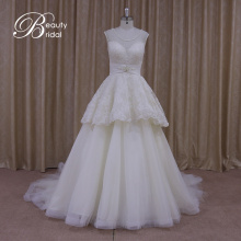 Real Sample Vintage Sash Bowknot Tulle Wedding Dresses