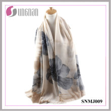 2016 High Quality Noble Begonia Print Satin Cotton Scarf