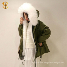 Snow White Wholesale Real Fox Fur Parka Newest Soft Overcoat Fashion