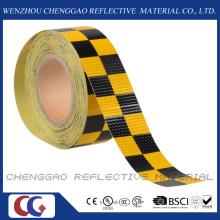 Ruban de signalisation de sécurité réfléchissants PVC jaune et noir Chequer (C3500-G)