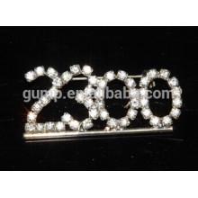 custom Number rhinestone brooch pins