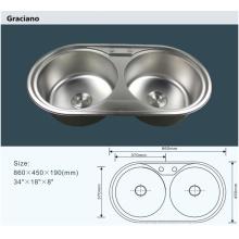 Fregadero de la colada de la mano del cuarto de baño de la cocina del acero inoxidable portátil doble al por mayor
