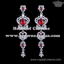 Alloy Crystal Red Diamond Princess Earrings