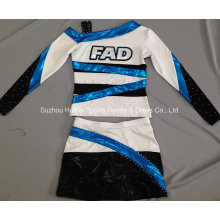 Metálico brillante Cheerleading uniforme con piedras de Strass