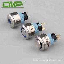 Interruptor de botón momentáneo azul de 22V con anillo de 22 mm