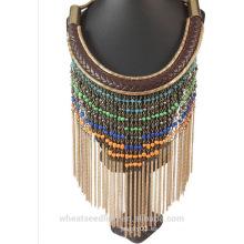 2016 accesorios para el collar largo de la borla de la cadena de la correa de cuero de las mujeres rebordean el collar