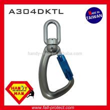 A304DKTL 25kN Indicateur de charge pivotante en aluminium Snap Twist Lock Hook Carabiner