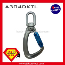 A304DKTL 25kN Aluminum Swivel Load Indicator Snap Twist Lock Hook Carabiner