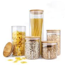 Kitchen Stocked sealed  glass storage jar borosilicate jar with bamboo lid