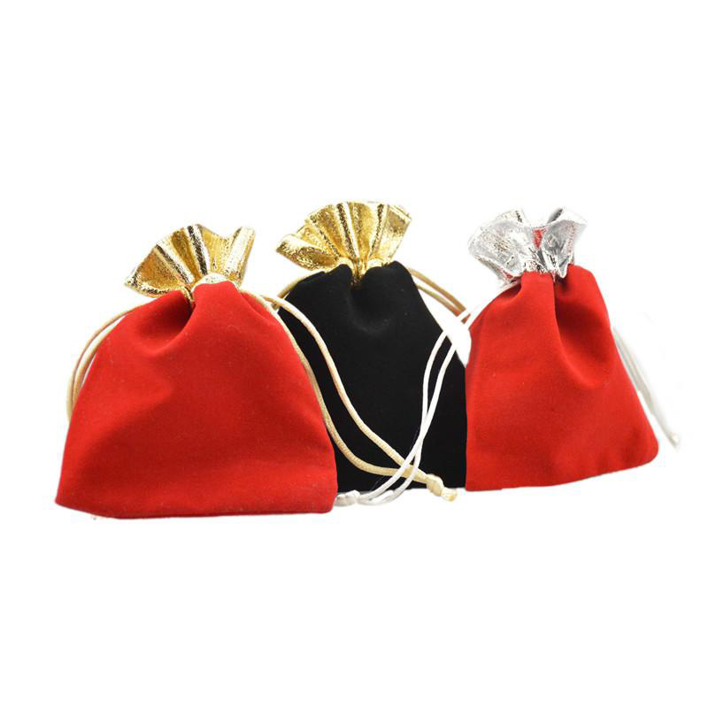 Red and Black metallic pouch with gold beads