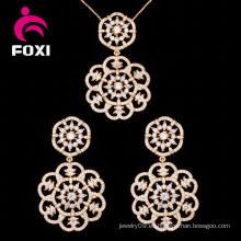 Set de moda 18k pendiente de oro encantador y conjunto de joyas pendiente