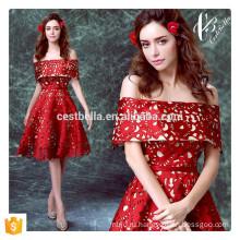 Мода Элегантный Cap Рукавом Красный Вечернее Платье Короткое Cap Рукавом Платье День Рождения Платье Вечернее Платье