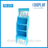 Blue color retail display rack for shower gel, pos cardboard display stand for shampoo in outlet stores