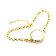 Pulsera colgante flotante preciosa del oro del diseño antiguo 2015, pulseras de cadena cristalinas de la foto del cristal 316l
