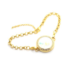 2015 Antique design lovely gold floating pendant bracelet,crystal 316l glass photo chain bracelets