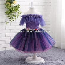 2017 fábrica de suministro de una palabra hombro color púrpura vestido de novia de las muchachas al por mayor