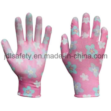 Printed Polyester Work Glove with PU Palm Coated (PN8014-6)
